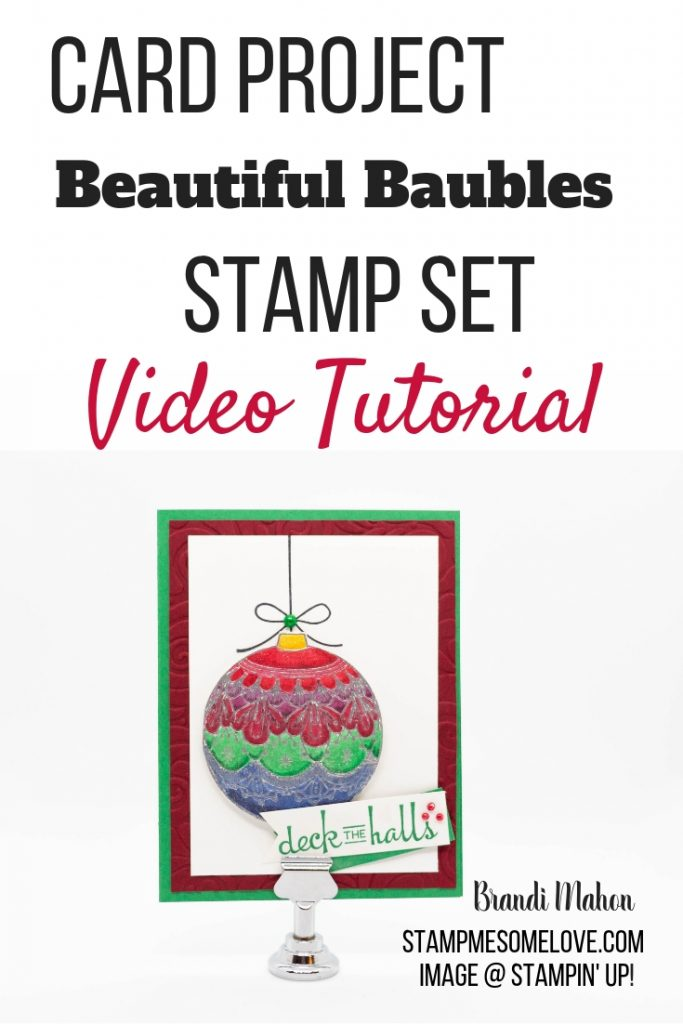 Watch this video tutorial on how to create this beautiful christmas card using Stampin' Up! Beautiful Baubles and Stampin' Blends. | beautiful baubles ornament tutorial | beautiful baubles cards | call me clover | cherry cobbler | watercolor paper | swirls & twirls | stampin blends techniques | stampin blends markers
