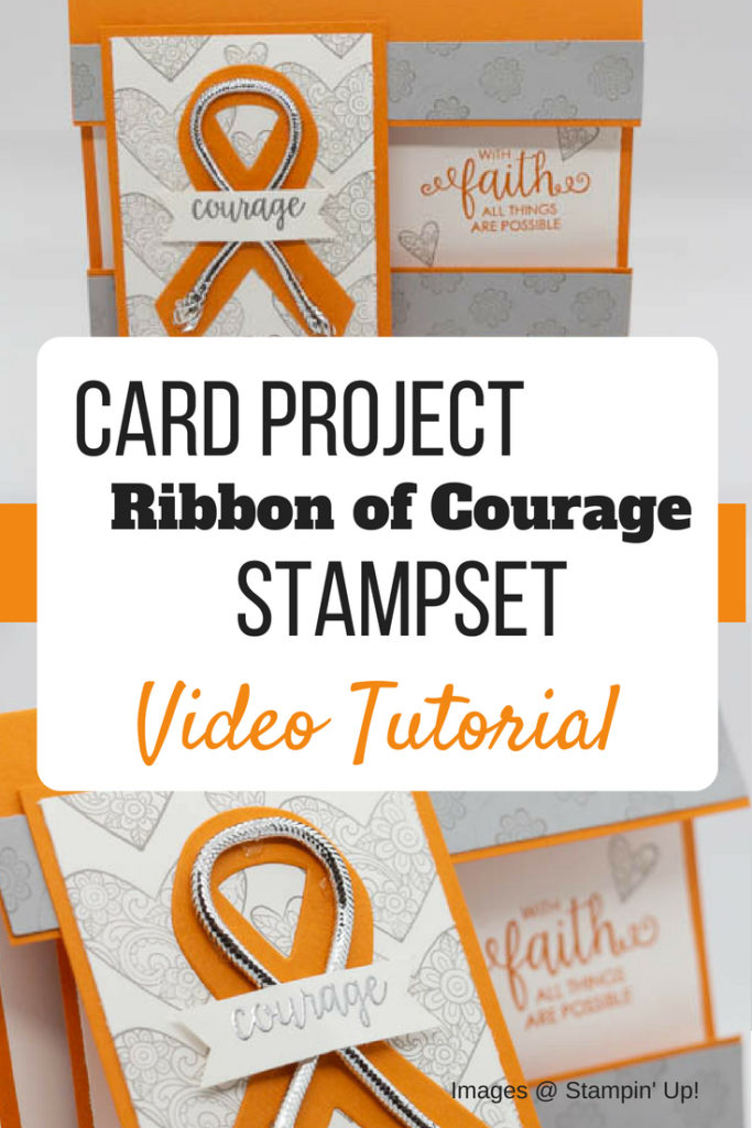Learn how to make this flap fold card featuring Stampin' Up! Ribbon of Courage Stamp set | Video Card Tutorial | cards for cancer | cards for cancer patients | cards for cancer patients diy | ribbon of courage cancer card